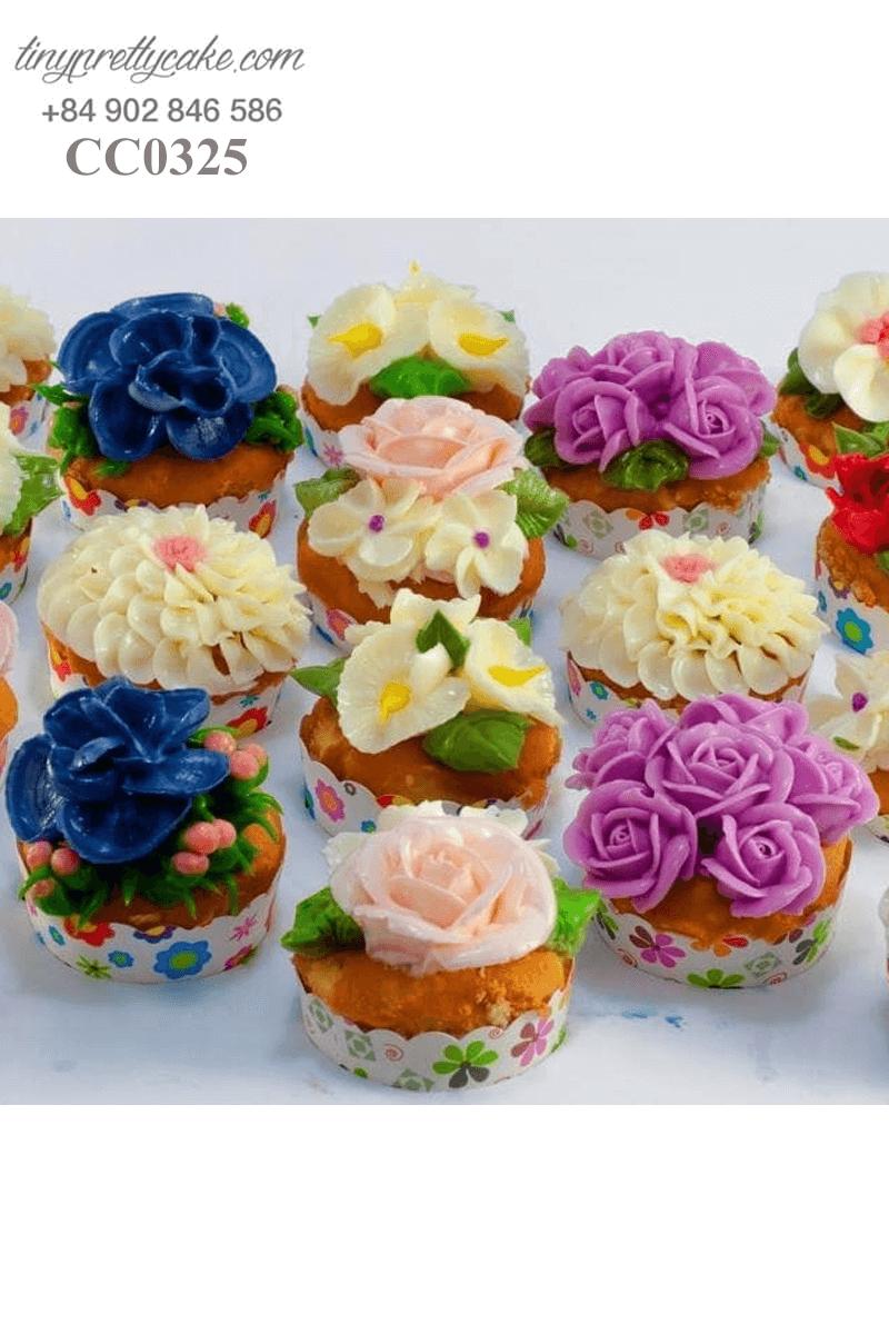 Set 18 bánh Cupcake hoa tươi rực rỡ dành tặng sinh nhật các bé gái