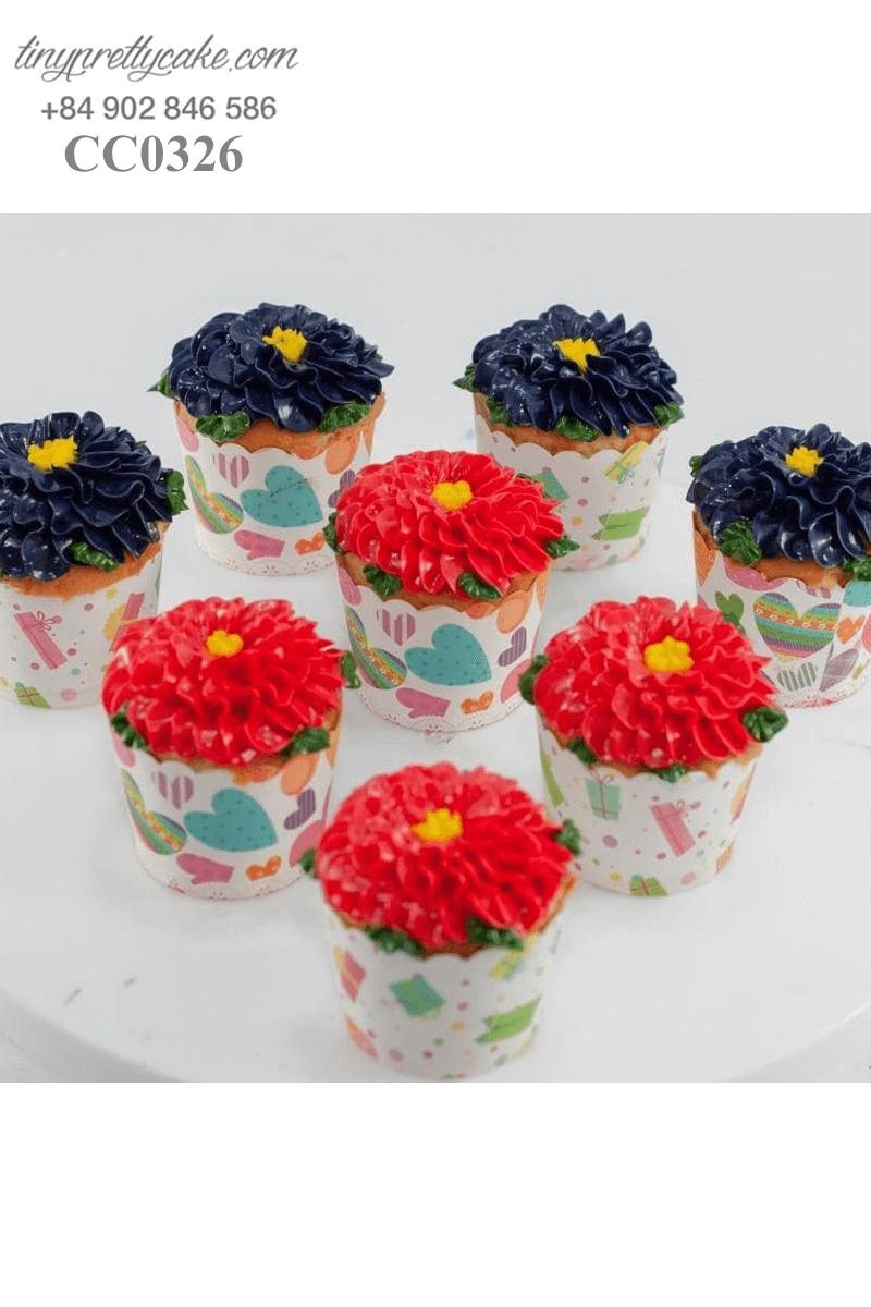 Set 8 bánh Cupcake hình bông hoa xinh xắn tặng sinh nhật bé gái