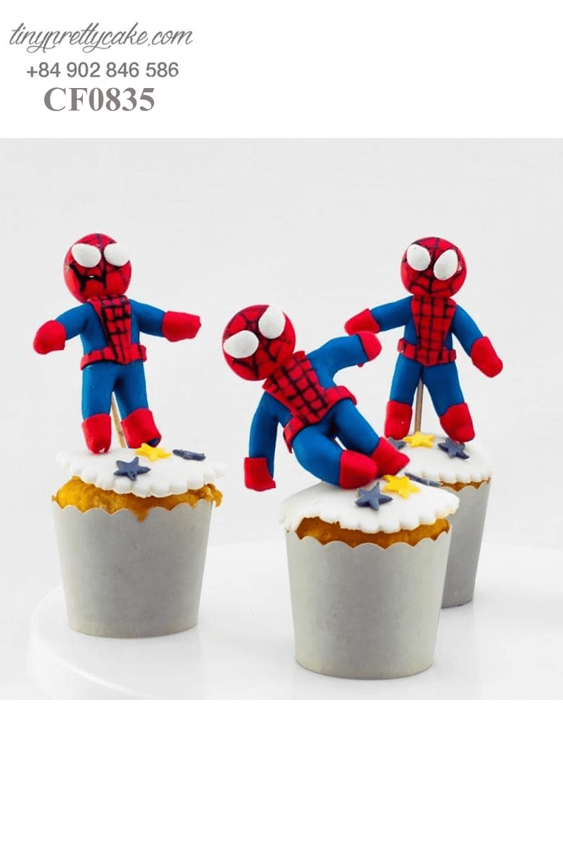 Set 4 Cupcake tạo hình Spiderman độc đáo dành tặng sinh nhật bé trai