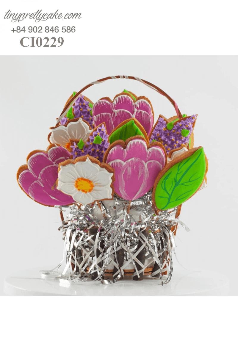 Set bánh 8 Cookie tạo hình chậu hoa độc đáo dành tặng các bé gái