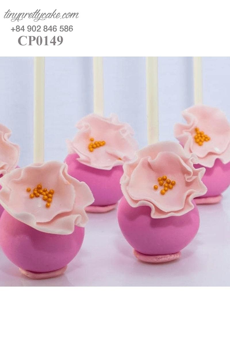 bánh cake pop màu hồng hoa đẹp