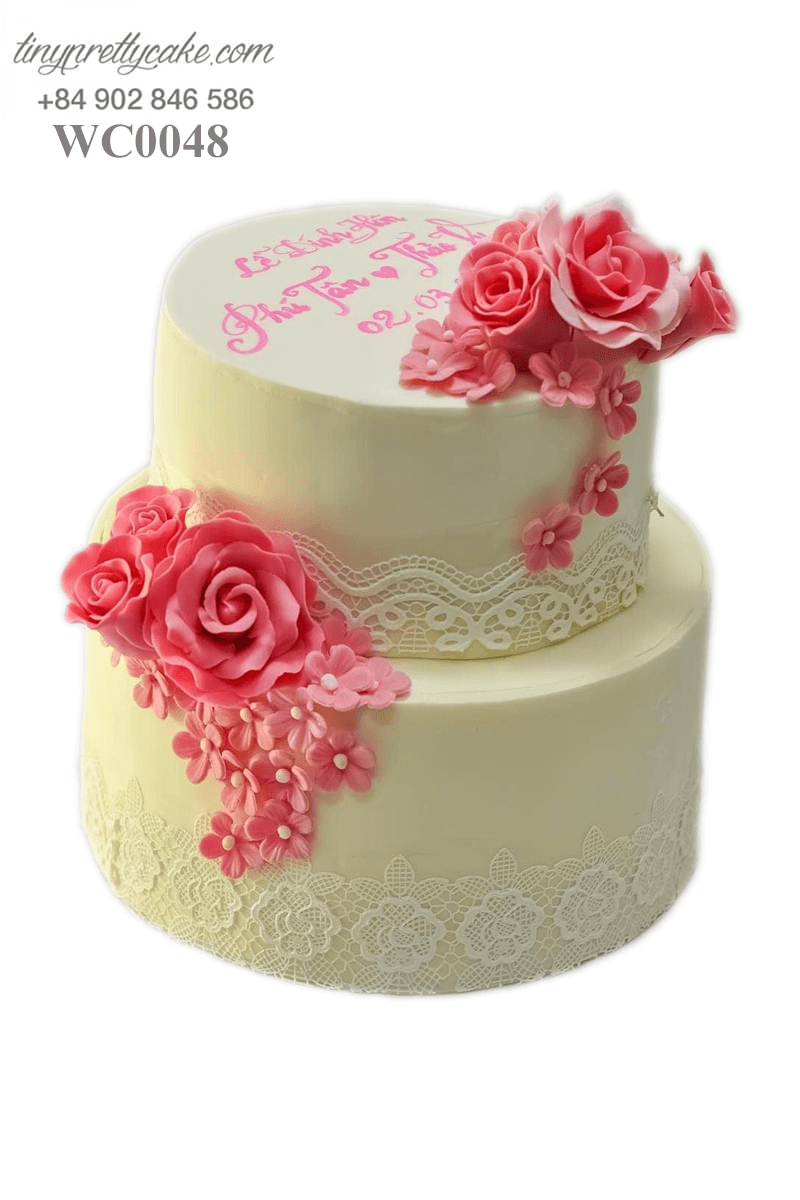Bánh kem hoa hồng tươi cho đám cưới ngọt ngào của các cặp đôi