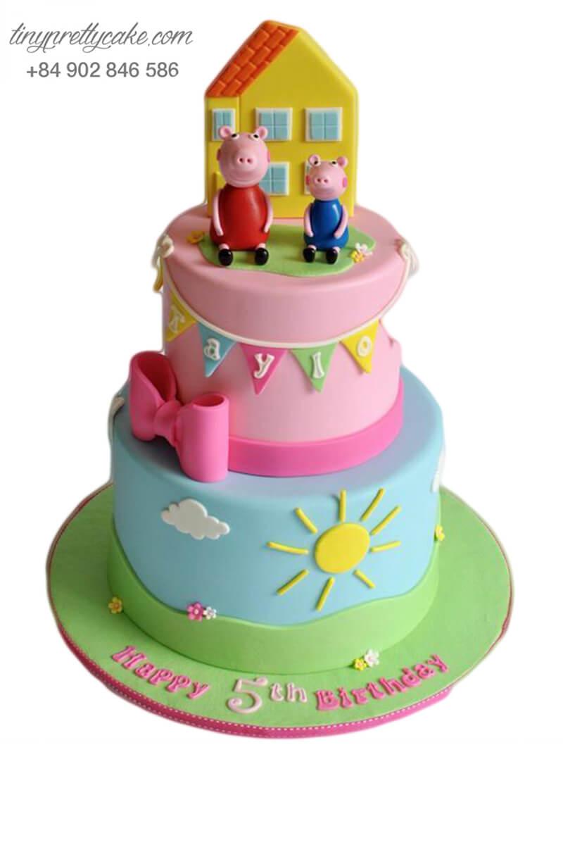 Gato 2 tầng tạo hình ngôi nhà và những chú heo mừng sinh nhật, đầy tháng cho bé trai