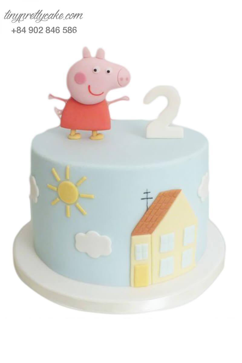 Bánh gato mừng đầy tháng tạo hình chú heo và ngôi nhà pastel cho các bé