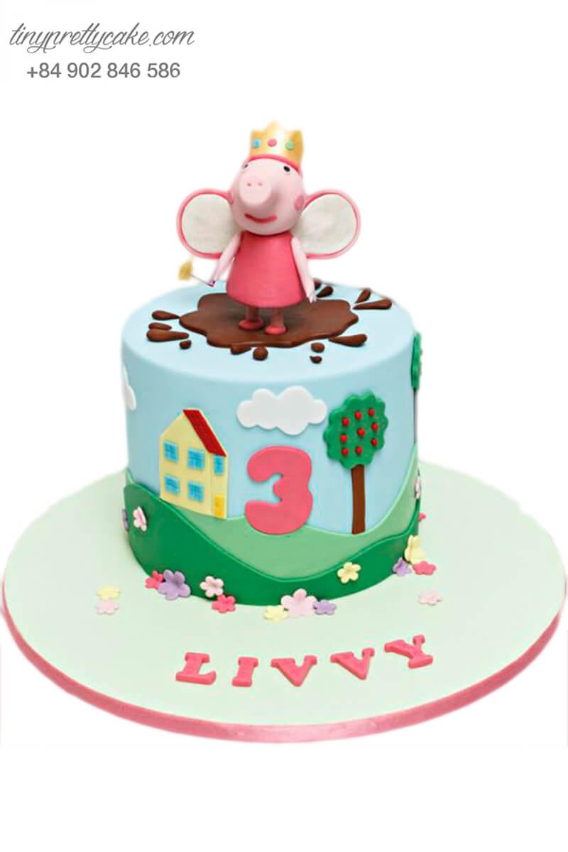 Gato mừng sinh nhật, đầy tháng, tạo hình heo con và vương miện cho bé gái
