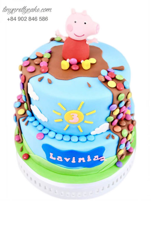 Gato 2 tầng heo con và những viên kẹo - mừng sinh nhật, đầy tháng cho các bé