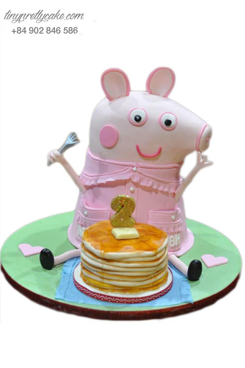 Gato mừng sinh nhật, đầy tháng tạo hình chú heo Peppa đang ăn pancake dễ thương cho các bé