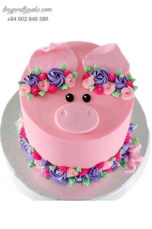 Bánh gato mừng sinh nhật, đầy tháng tạo hình heo xinh và hoa cho bé gái