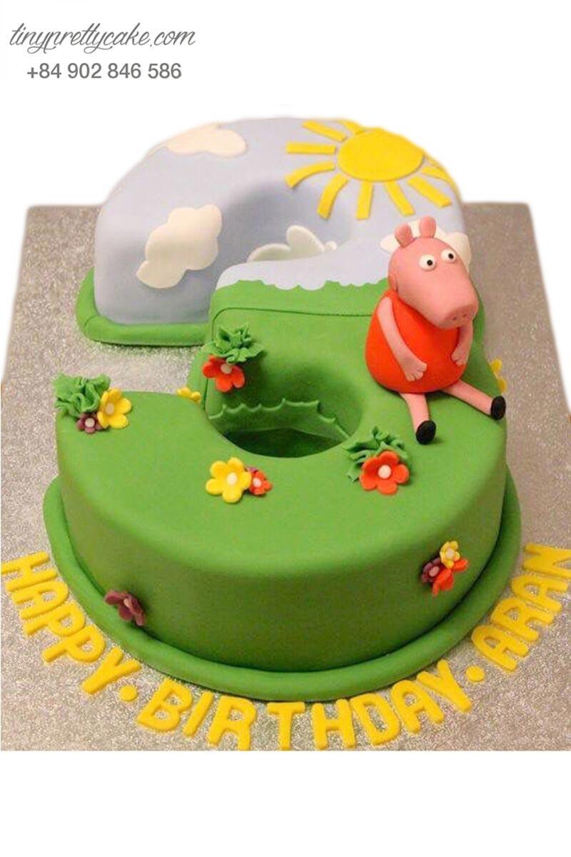 bánh sinh nhật số 3 và Peppa Pig