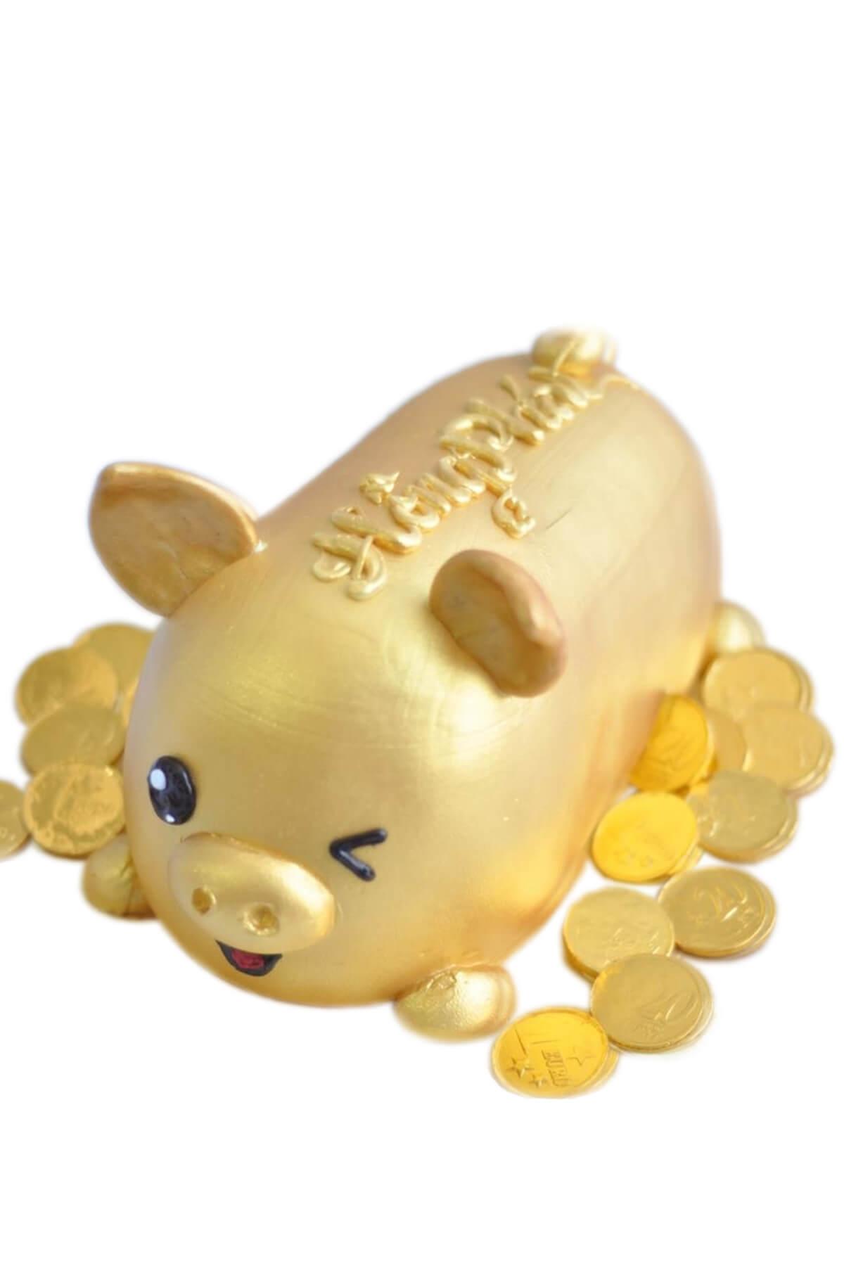 Bánh gato chú heo vàng và đồng tiền xu phát tài phát lộc, mừng khai trương công ty