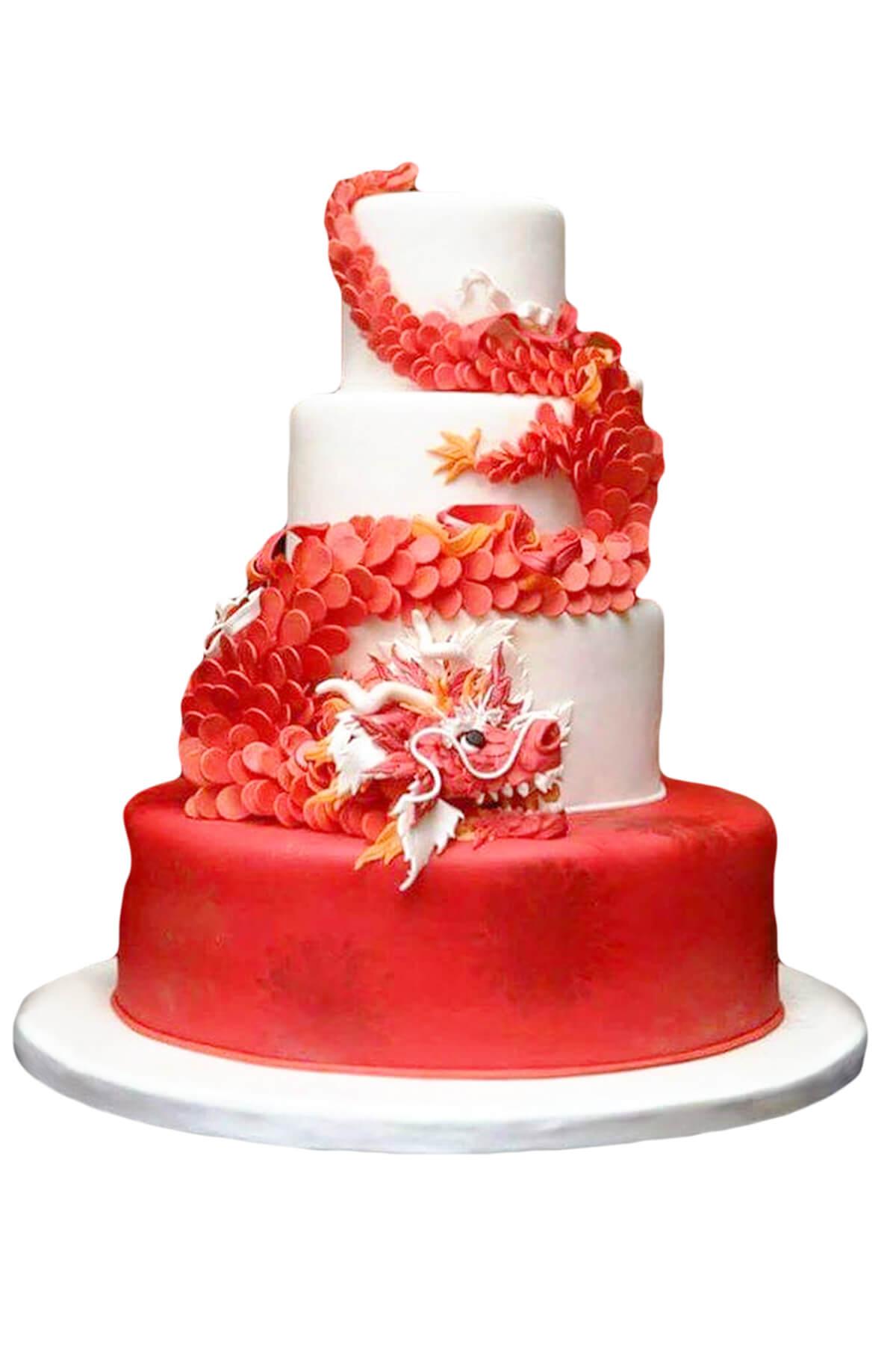 Bánh gato hình rồng đỏ may mắn, mừng công ty khai trương đại phát