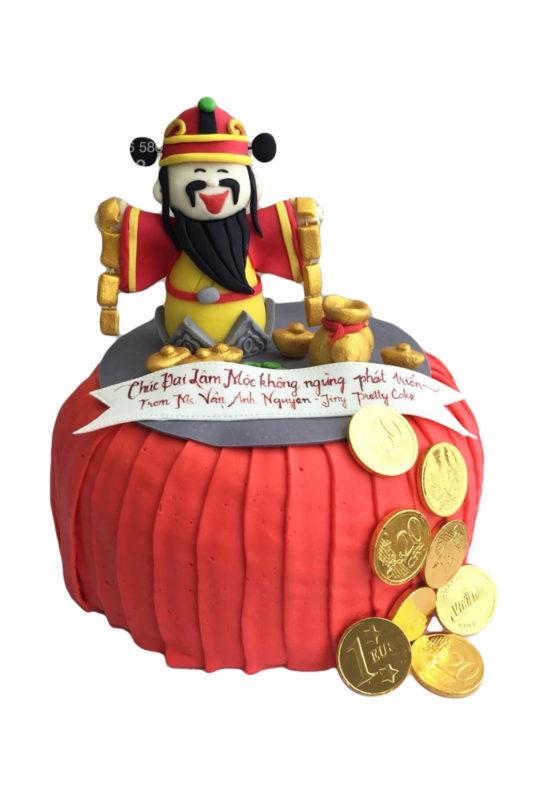 Bánh gato tạo hình ông thần tài và đồng xu vàng ý nghĩa, mừng công ty khai trương đại cát