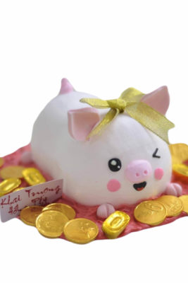 Bánh gato chú heo hồng và đồng tiền xu phát tài phát lộc, mừng khai trương công ty