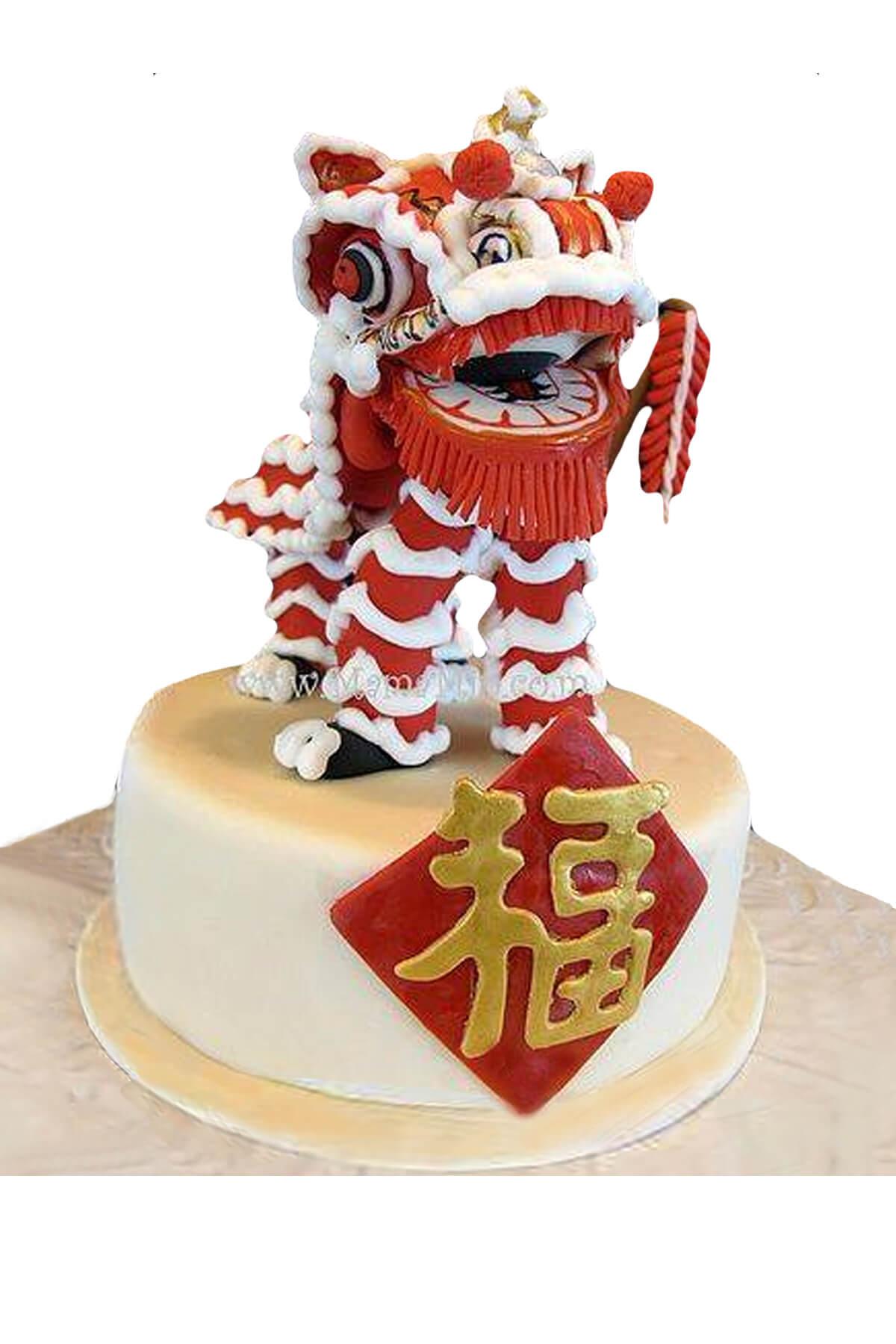 Bánh gato lân sư rồng đỏ ý nghĩa, mừng công ty khai trương đại phát