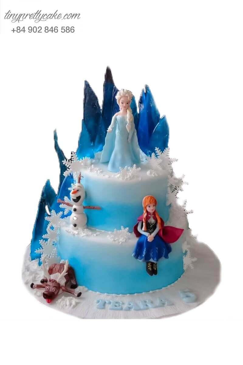 bánh sinh nhật 2 tầng Elsa và Anna