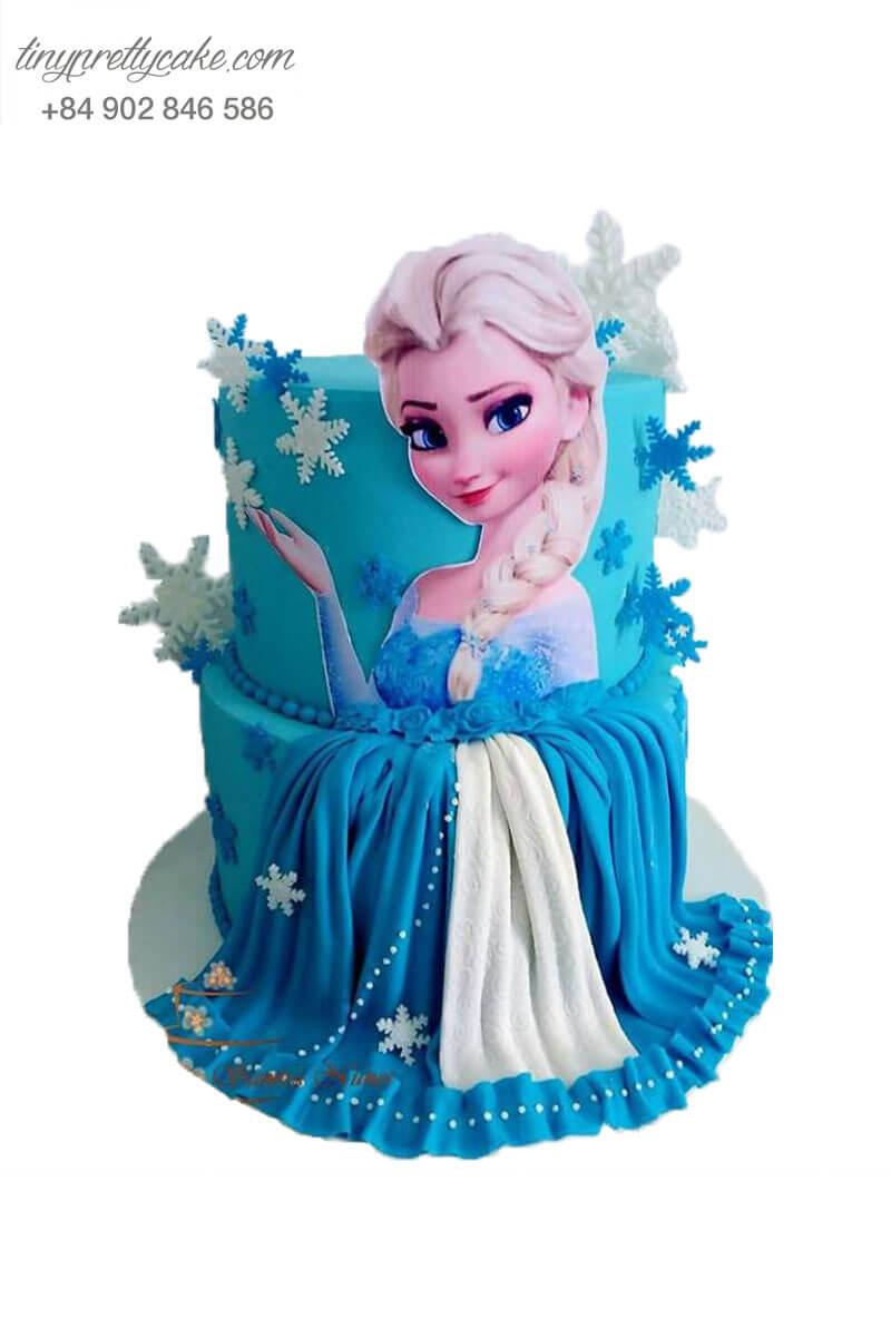 bánh sinh nhật 2 tầng công chúa Elsa