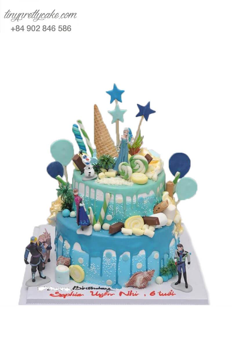 bánh sinh nhật 2 tầng nữ hoàng Elsa