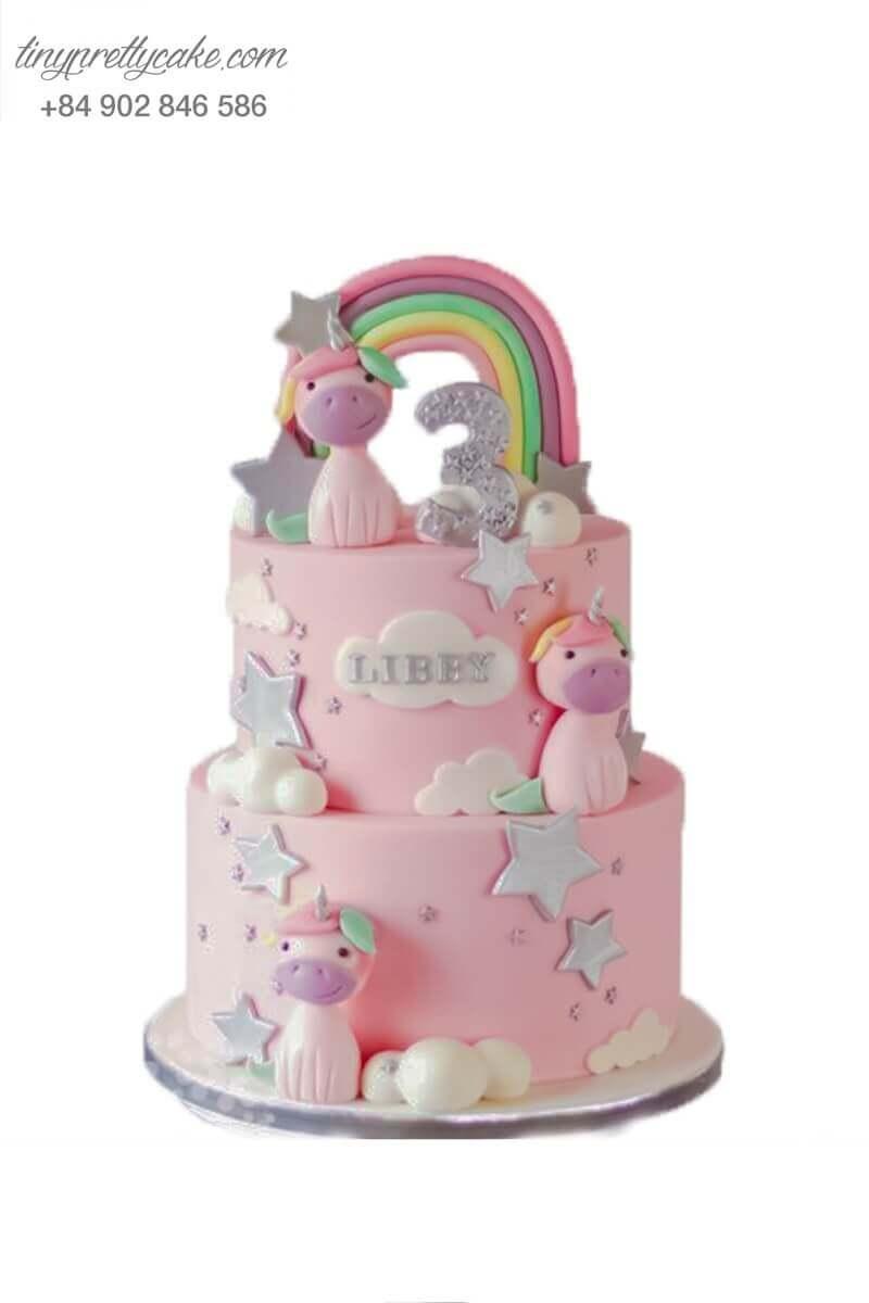 bánh sinh nhật 2 tầng unicorn ngọt ngào