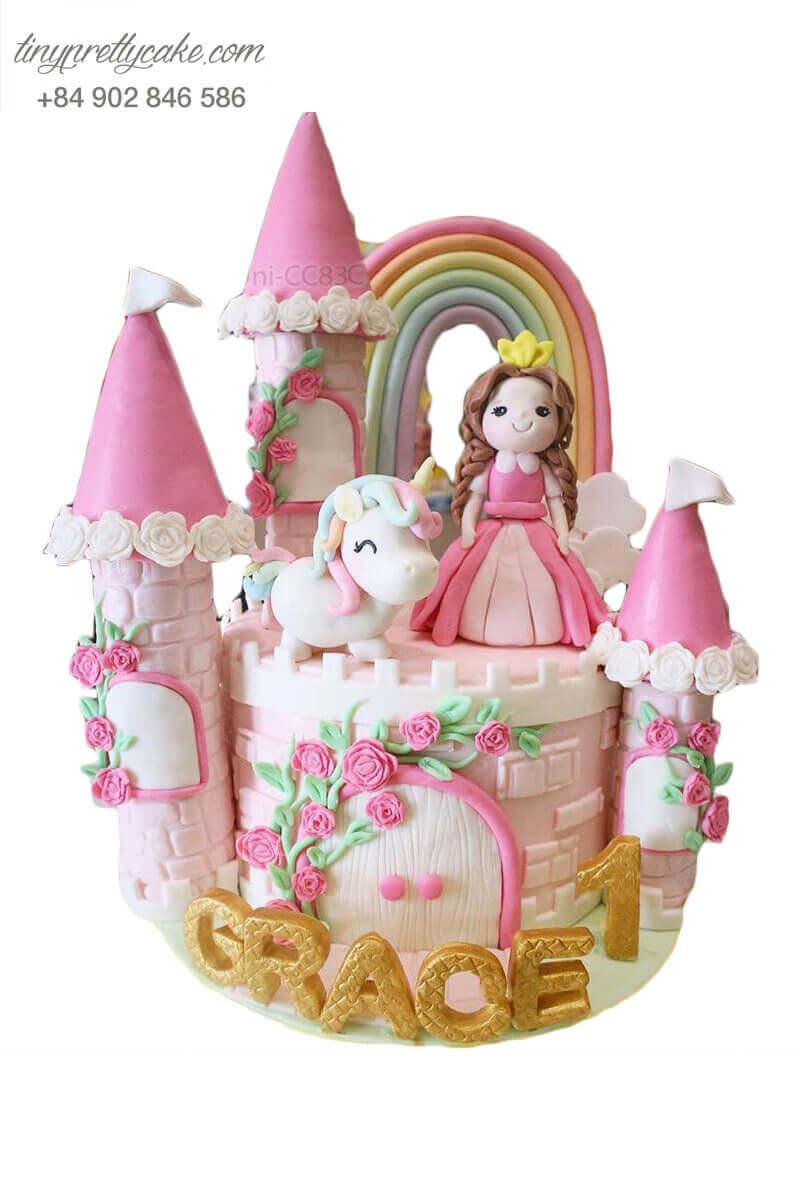 bánh sinh nhật lâu đài Unicorn