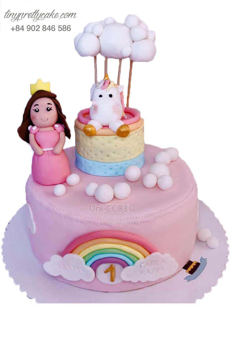 bánh sinh nhật Unicorn và công chúa