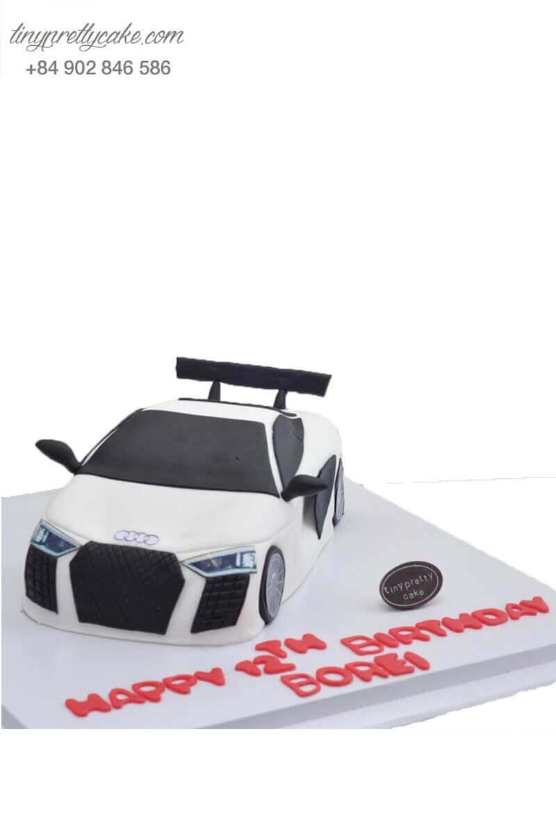 Bánh kem sinh nhật xe hơi trắng