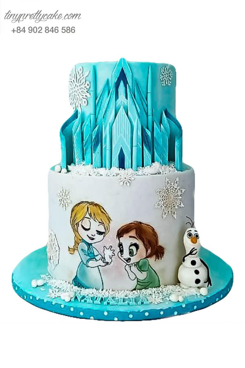 bánh sinh nhật 2 tầng nàng Elsa