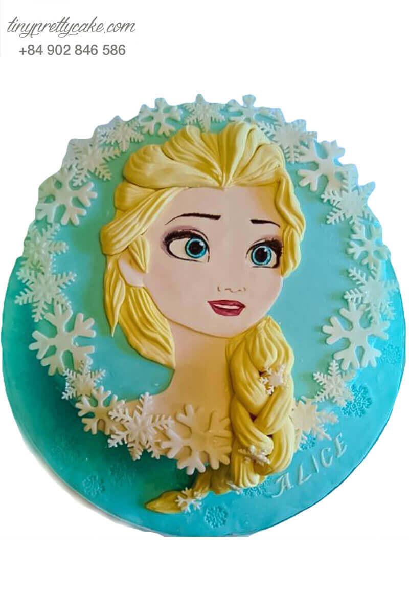 bánh kem vẽ hình Elsa
