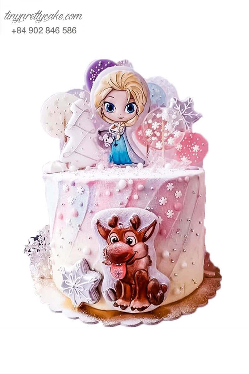 Bánh fondant Elsa màu hồng
