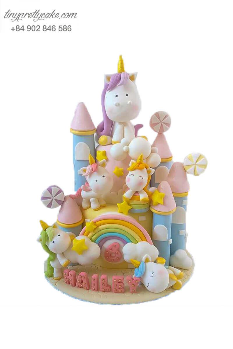 bánh sinh nhật lâu đài Unicorn dễ thương