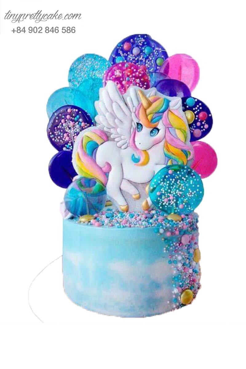 Bánh gato Unicorn 2 tầng rực rỡ