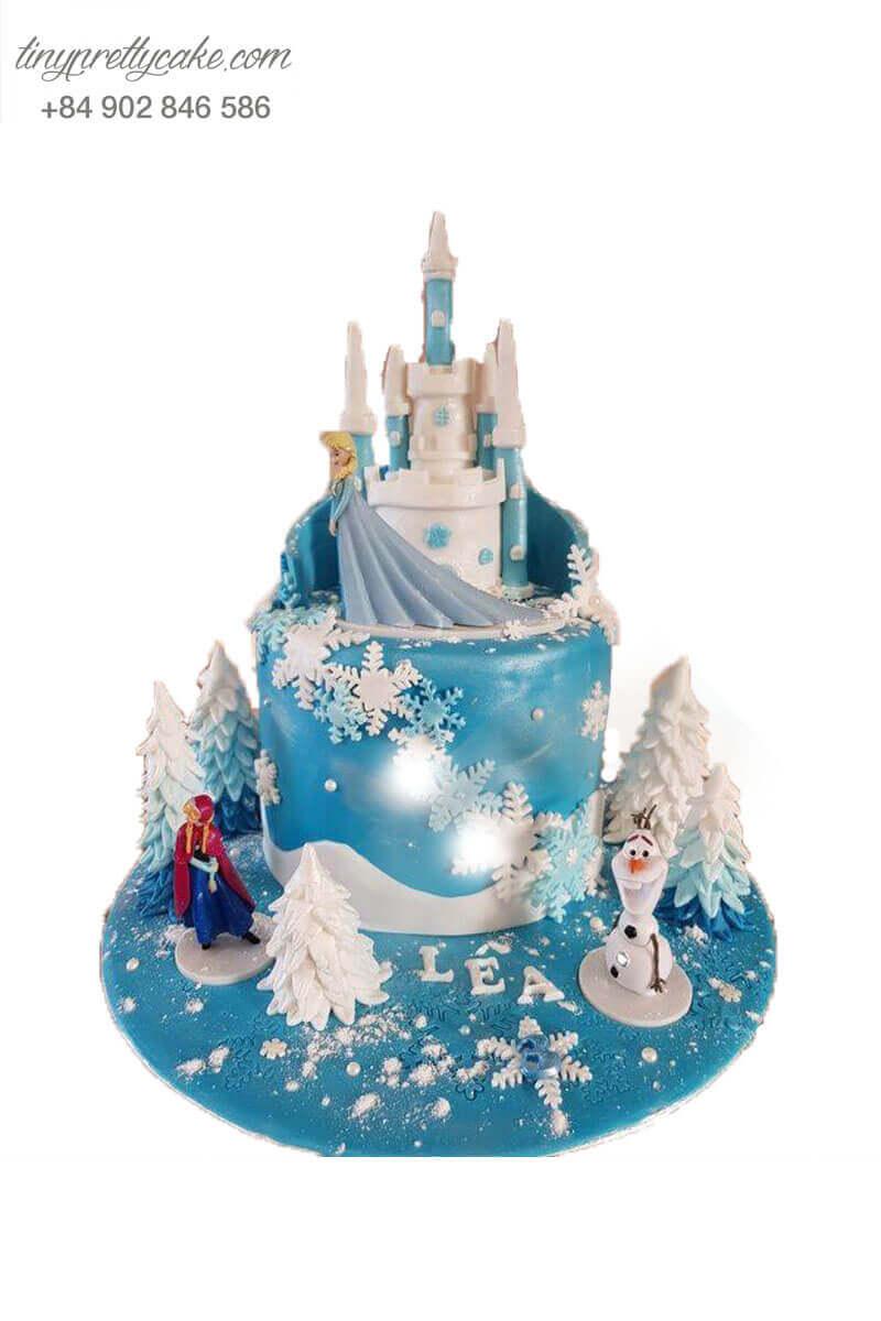bánh sinh nhật lâu đài Elsa đẹp