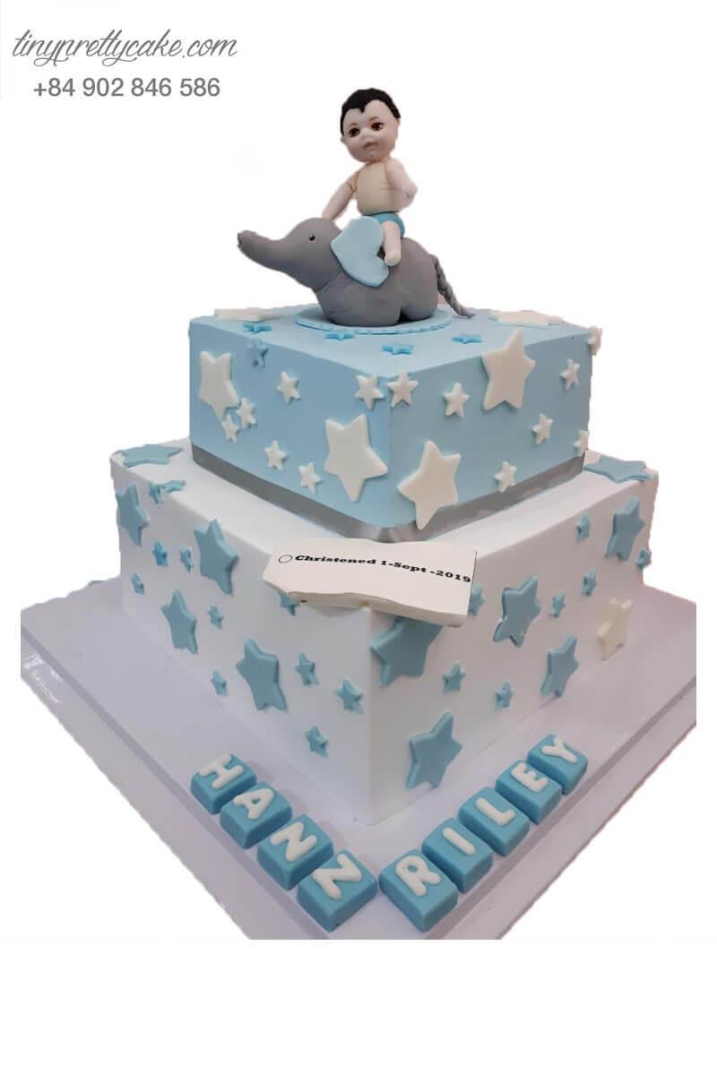 bánh kem 2 tầng cho bé trai hình con voi