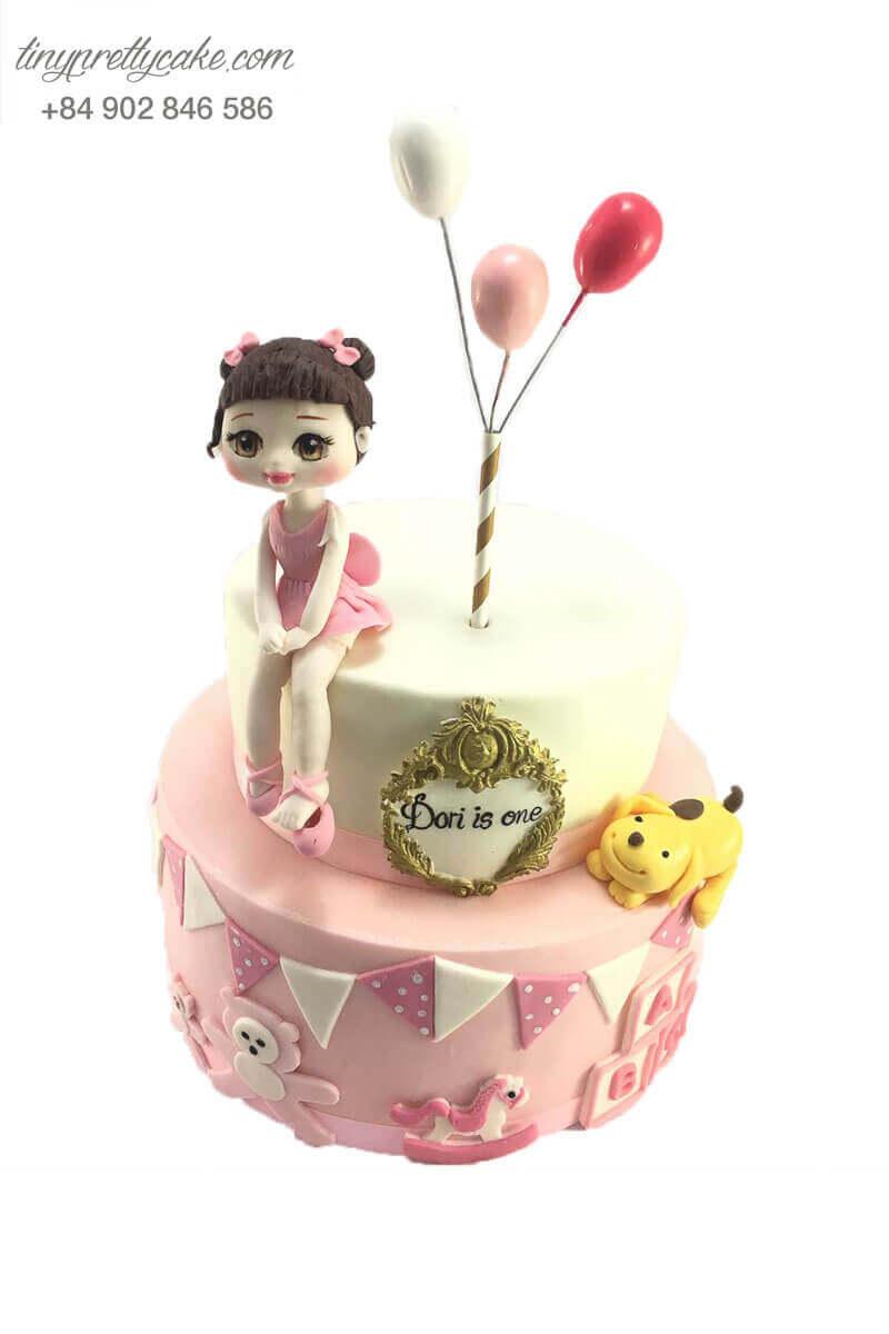 bánh sinh nhật 2 tầng dễ thương cho bé gái