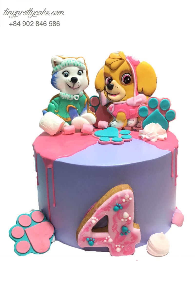 bánh sinh nhật hình chó tiểu thư